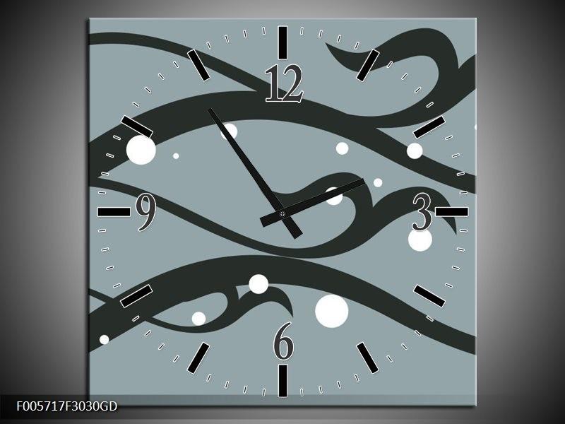 Wandklok op Glas Art | Kleur: Grijs, Zwart | F005717CGD