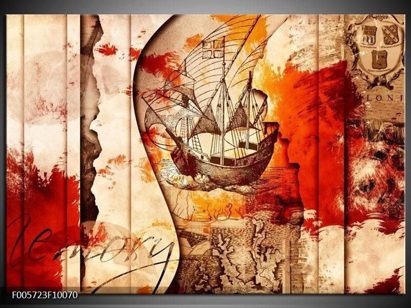Glas schilderij Boot   Rood, Crème , Bruin