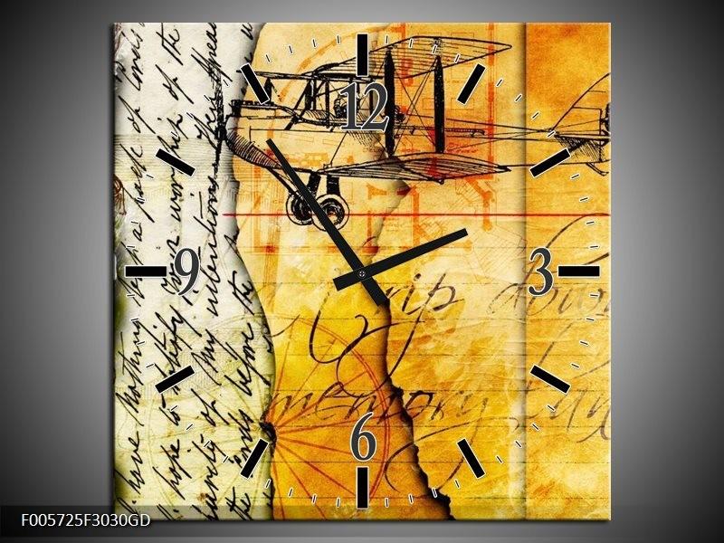 Wandklok op Glas Vliegtuig | Kleur: Geel, Zwart | F005725CGD