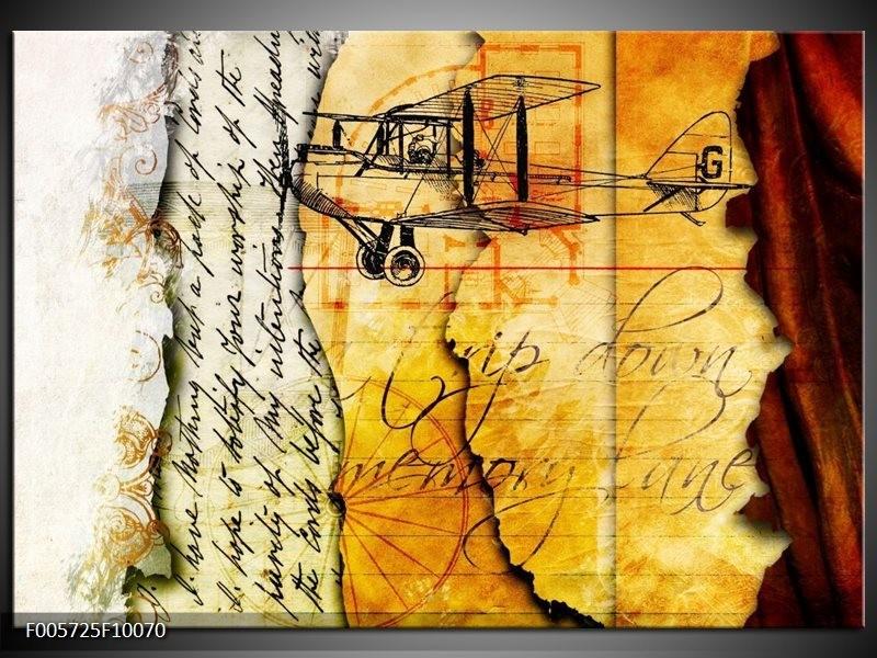 Glas schilderij Vliegtuig | Geel, Zwart