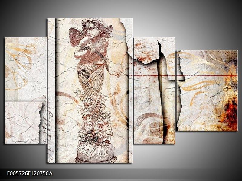 Canvas ART schilderij Angel | Crème, Wit | 120x75cm 4Luik