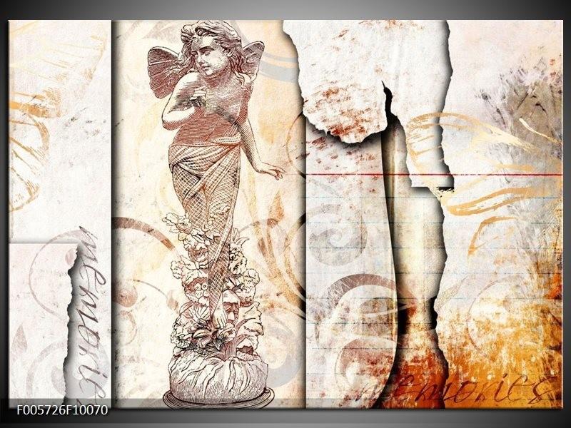 Glas schilderij Angel | Crème , Wit