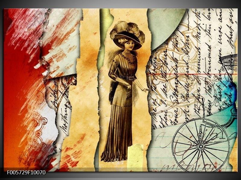 Glas schilderij Vrouw | Bruin, Rood