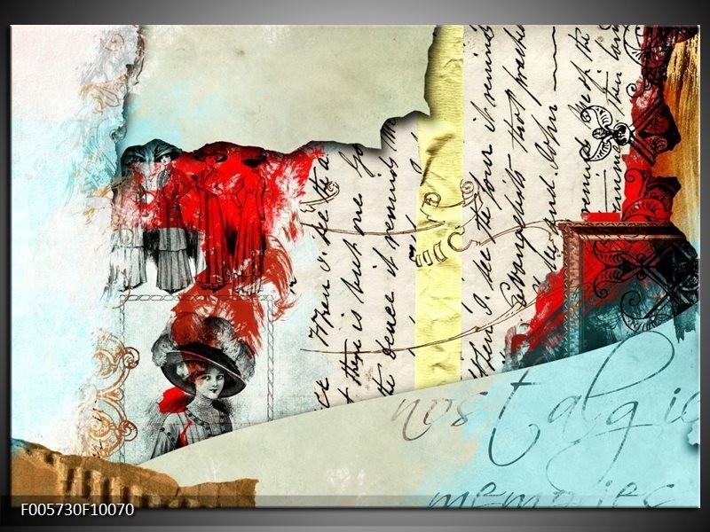 Glas schilderij Art   Rood, Crème