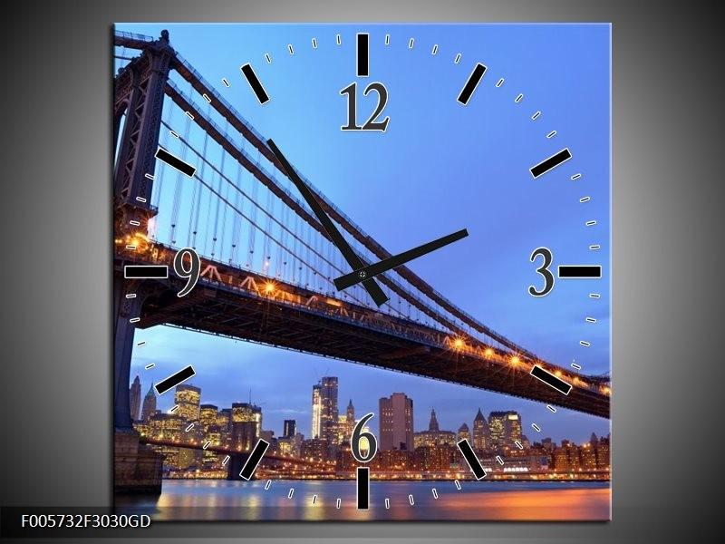 Wandklok op Glas New York | Kleur: Blauw | F005732CGD