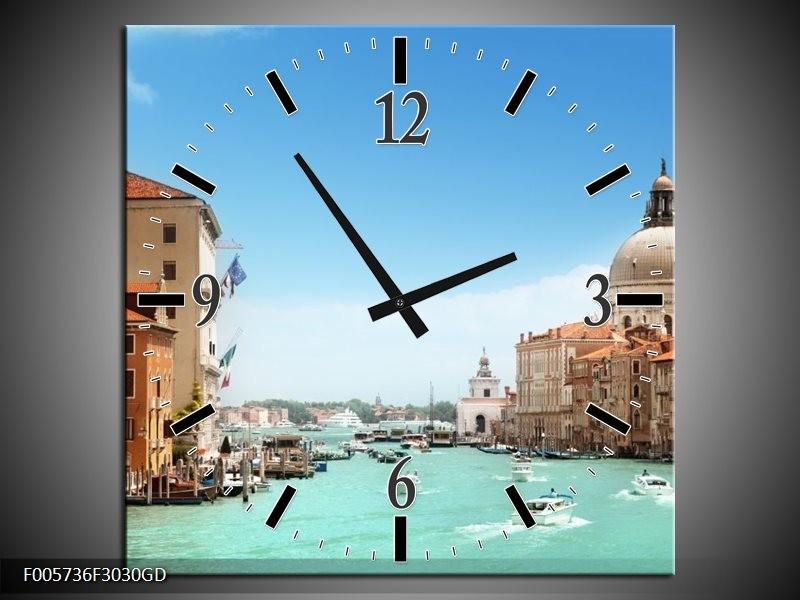 Wandklok op Glas Venetie | Kleur: Blauw, Creme | F005736CGD