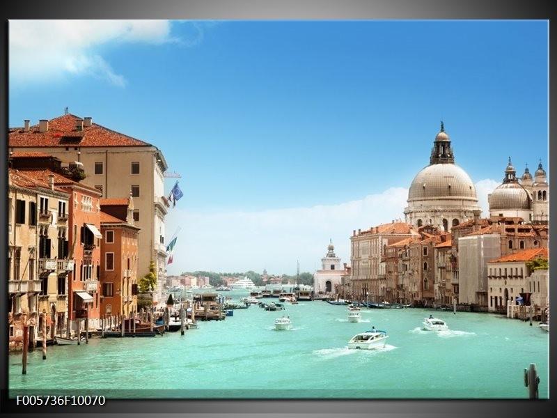 Glas schilderij Venetië | Blauw, Crème