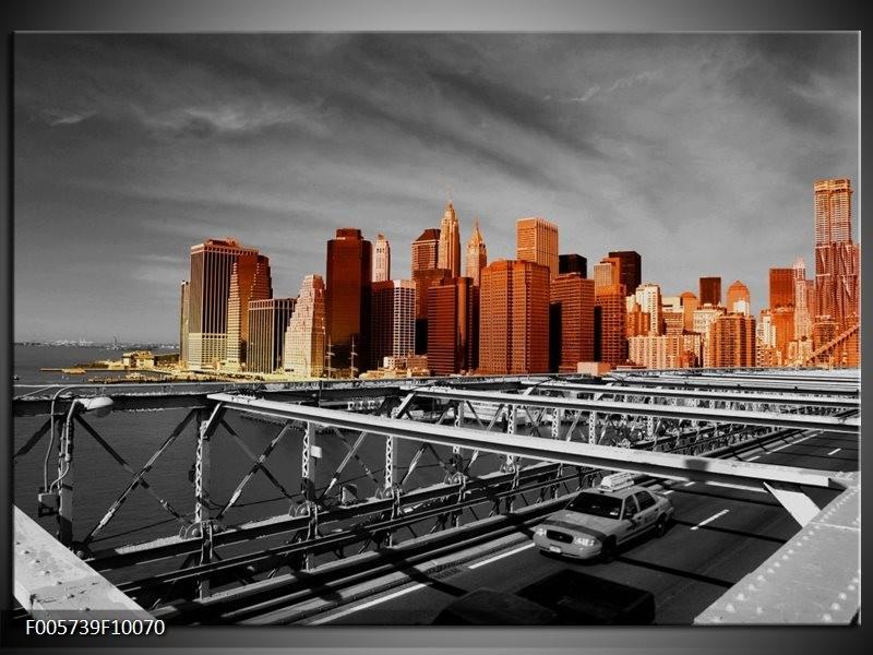 Glas schilderij New York   Oranje, Grijs, Zwart