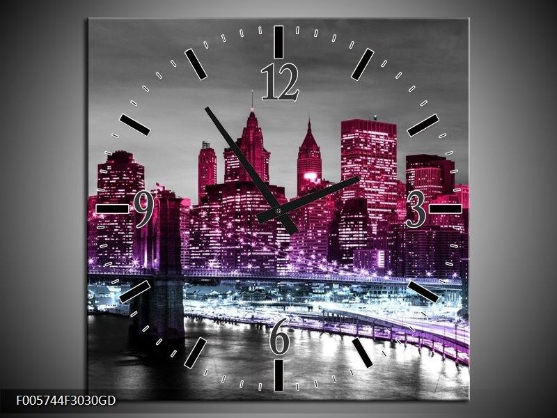 Wandklok op Glas New York   Kleur: Paars, Zwart   F005744CGD