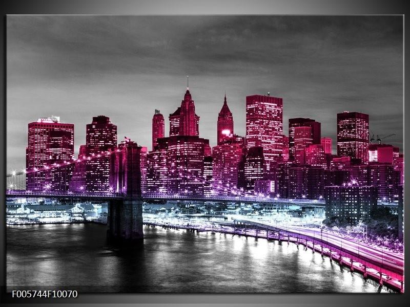 Glas schilderij New York   Paars, Zwart