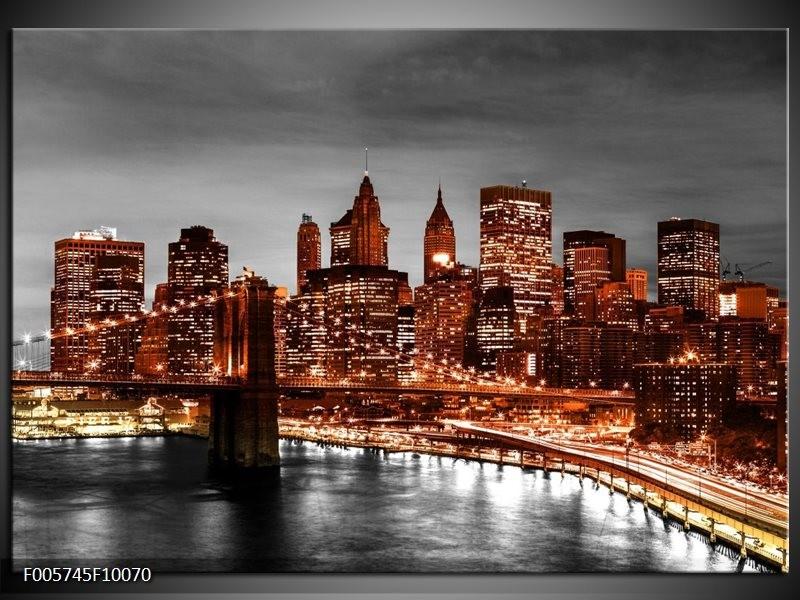 Glas schilderij New York   Bruin, Zwart