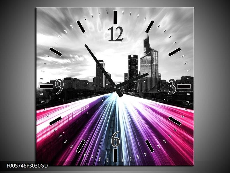 Wandklok op Glas Weg | Kleur: Paars, Roze, Zwart | F005746CGD