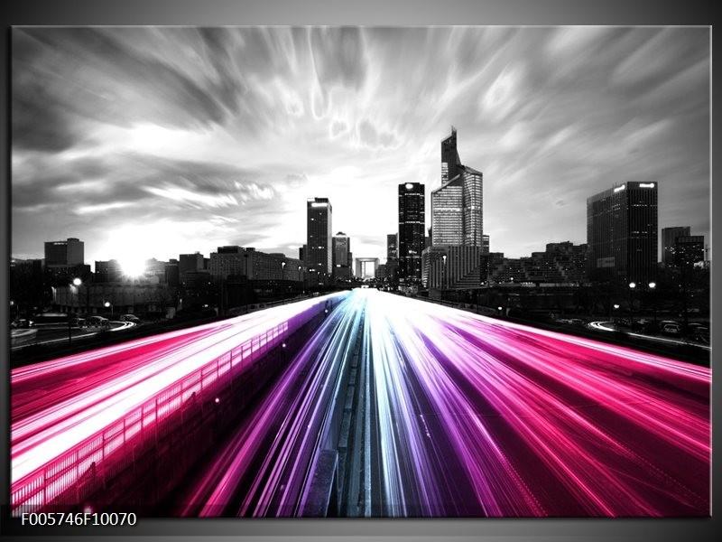 Glas schilderij Weg | Paars, Roze, Zwart