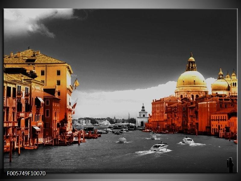Glas schilderij Venetië | Bruin, Zwart