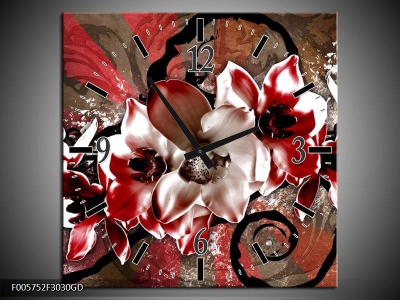 Wandklok op Glas Orchidee | Kleur: Rood, Wit, | F005752CGD