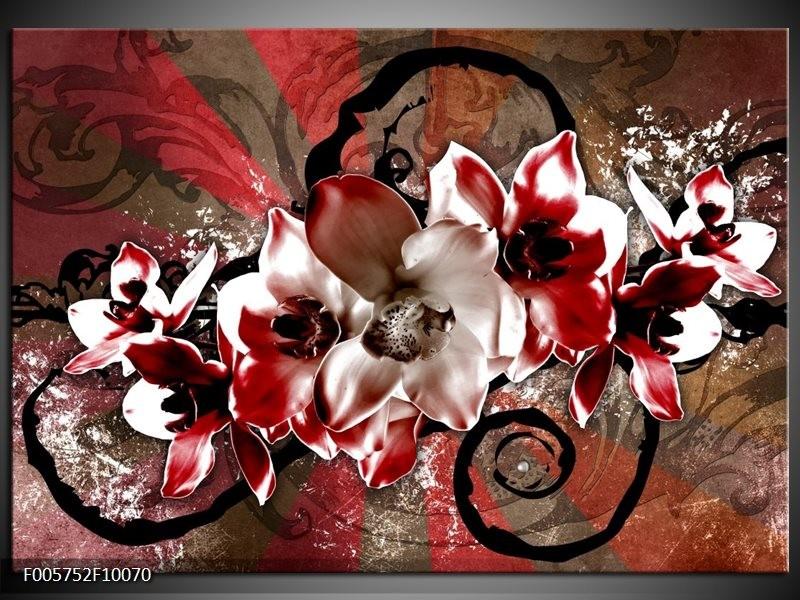 Glas schilderij Orchidee | Rood, Wit,