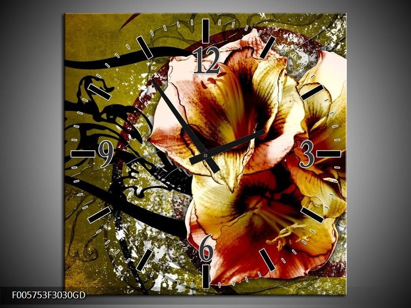 Wandklok op Glas Lelie | Kleur: Bruin, Groen | F005753CGD