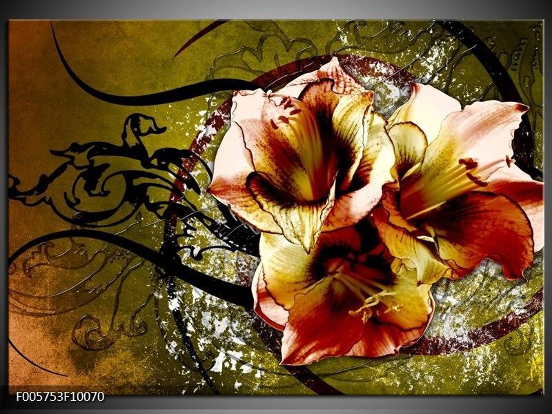Glas schilderij Lelie | Bruin, Groen