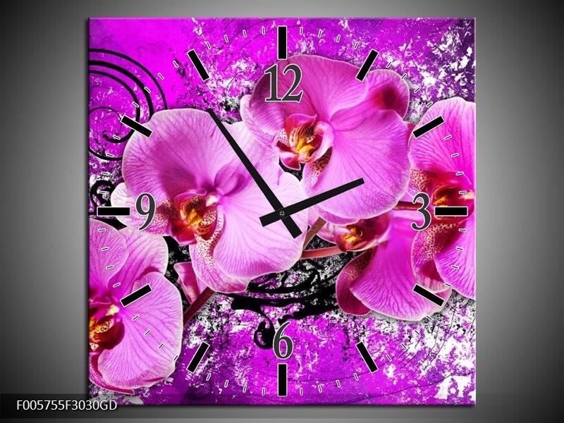 Wandklok op Glas Orchidee | Kleur: Paars | F005755CGD