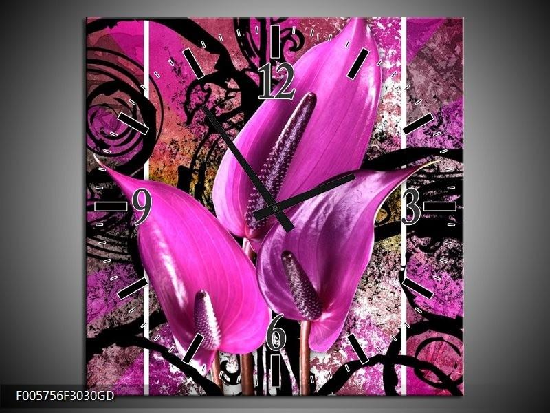 Wandklok op Glas Anthurium | Kleur: Paars, Zwart | F005756CGD