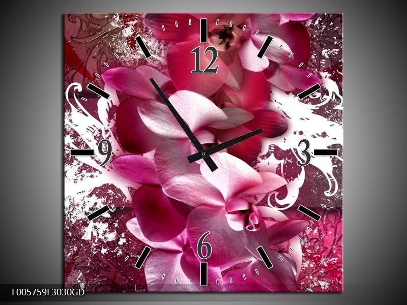 Wandklok op Glas Orchidee | Kleur: Roze, Wit | F005759CGD