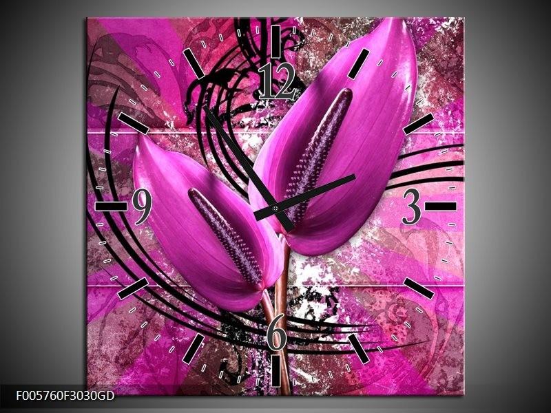 Wandklok op Glas Anthurium | Kleur: Paars | F005760CGD