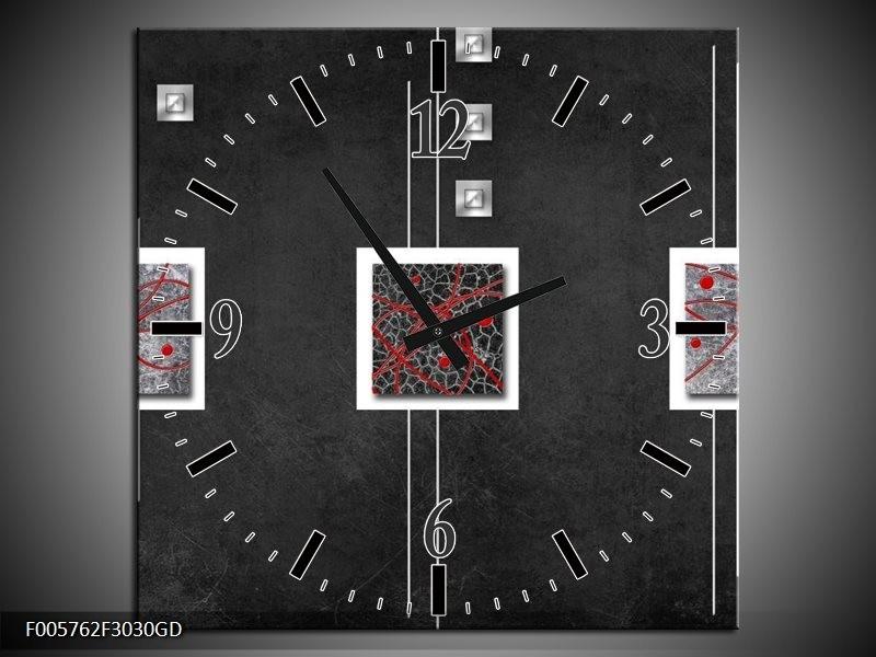 Wandklok op Glas Vierkant | Kleur: Grijs, Zwart, Rood | F005762CGD