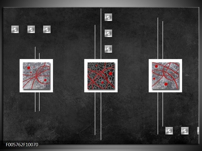 Glas schilderij Vierkant | Grijs, Zwart, Rood