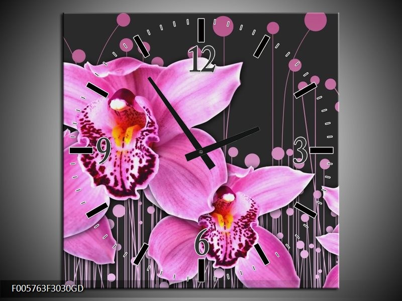 Wandklok op Glas Orchidee | Kleur: Roze, Grijs | F005763CGD