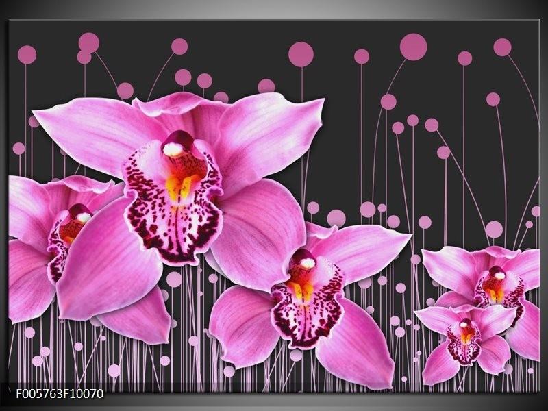 Glas schilderij Orchidee   Roze, Grijs