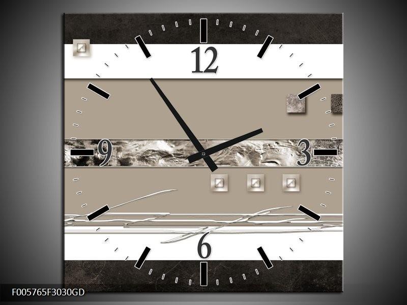 Wandklok op Glas Art | Kleur: Grijs, Wit, Zwart | F005765CGD