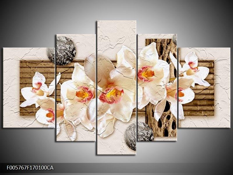 Canvas ART schilderij Orchidee | Crème, Bruin | 170x100cm 5Luik