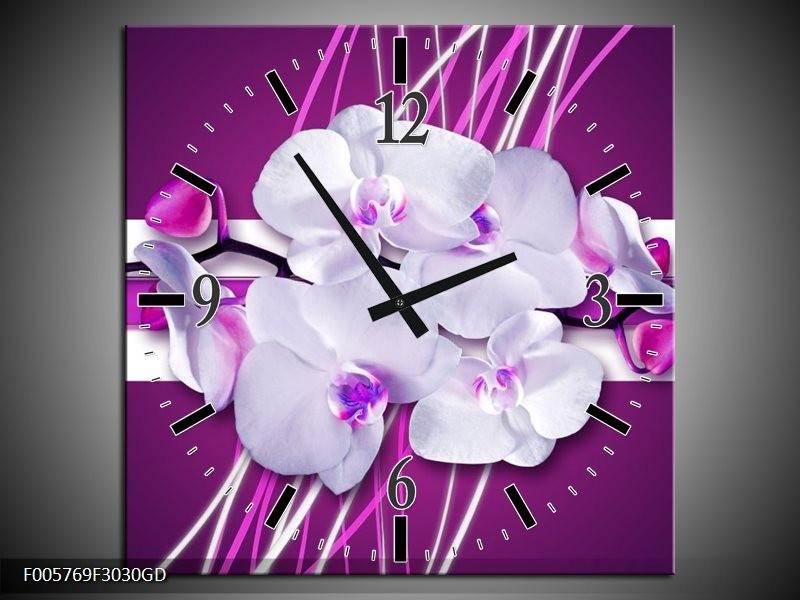 Wandklok op Glas Orchidee | Kleur: Paars, Wit | F005769CGD