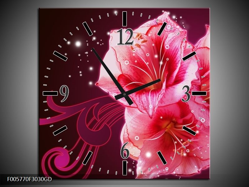 Wandklok op Glas Lelie   Kleur: Roze, Paars, Zwart   F005770CGD