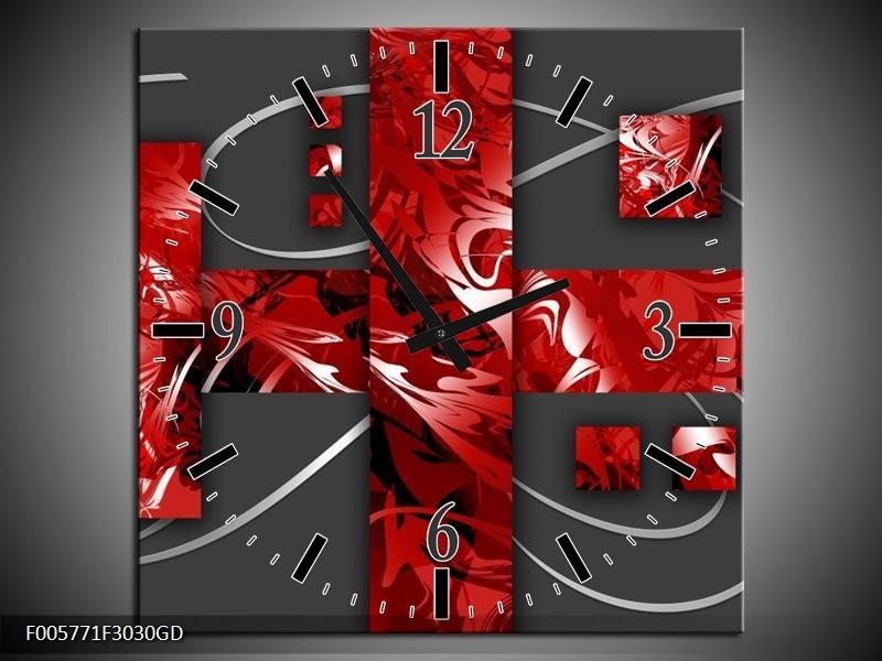 Wandklok op Glas Art | Kleur: Rood, Grijs | F005771CGD