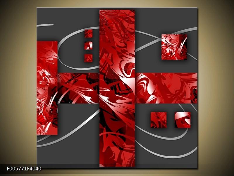 Canvas schilderij Art | Rood, Grijs | 40x40cm 1Luik