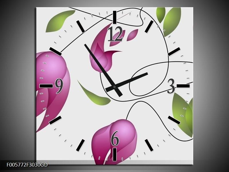 Wandklok op Glas Tulp | Kleur: Paars, Groen, Creme | F005772CGD