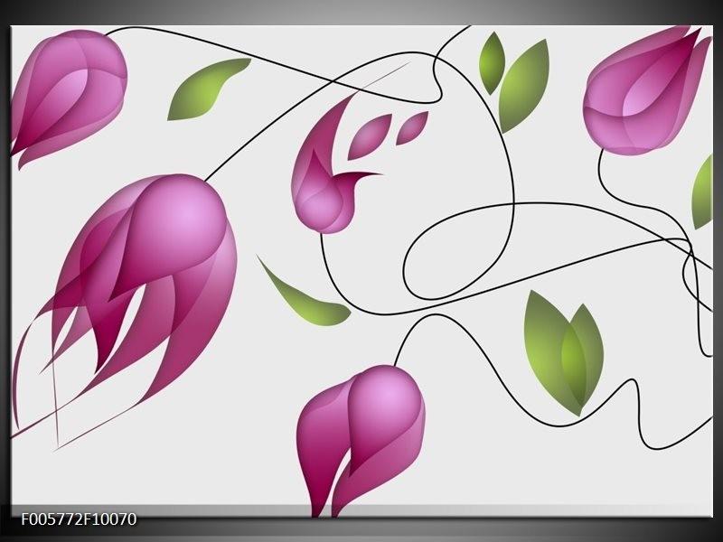 Glas schilderij Tulp | Paars, Groen, Crème