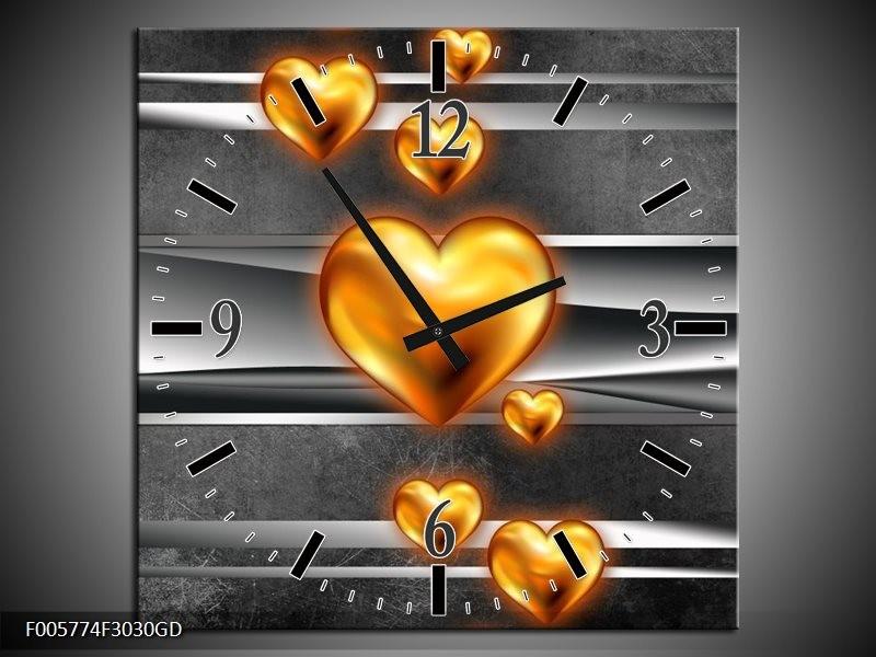Wandklok op Glas Hart | Kleur: Goud, Grijs, Zwart | F005774CGD