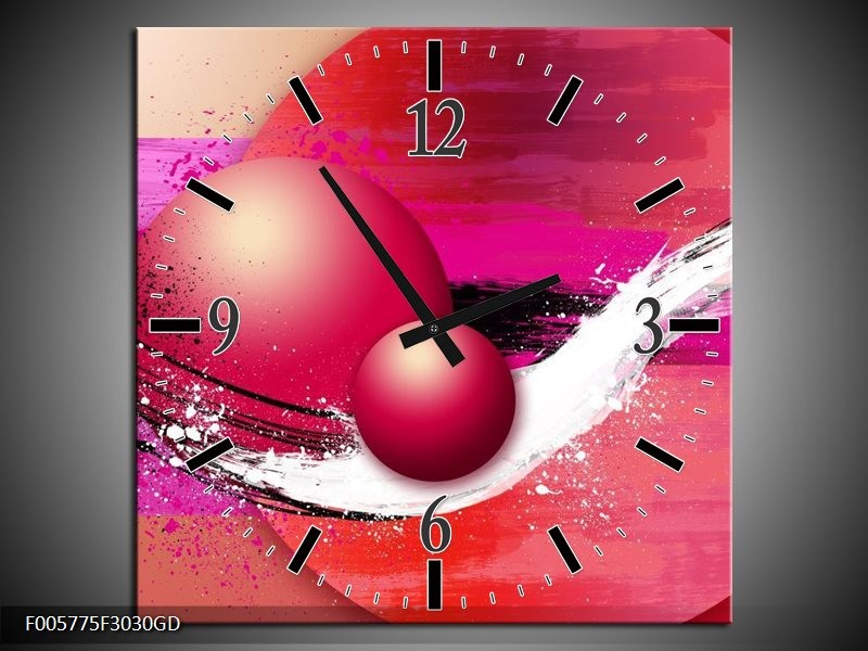 Wandklok op Glas Cirkel | Kleur: Paars, Roze | F005775CGD
