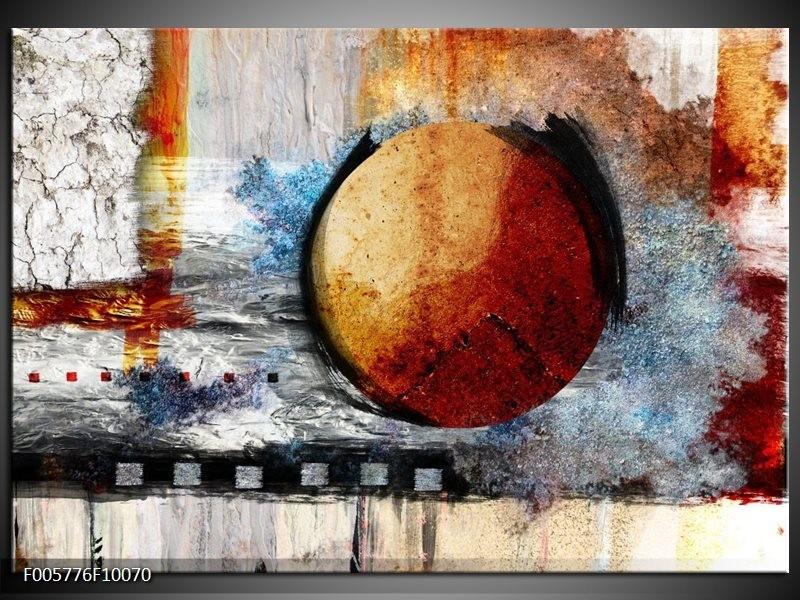 Glas schilderij Cirkel | Bruin, Crème , Goud