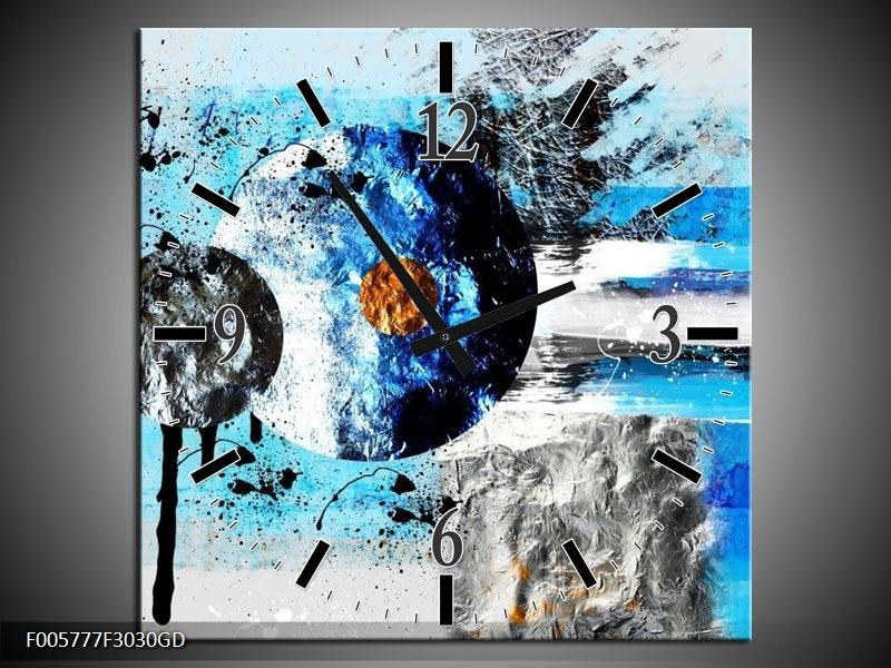 Wandklok op Glas Cirkel | Kleur: Blauw, Zwart | F005777CGD