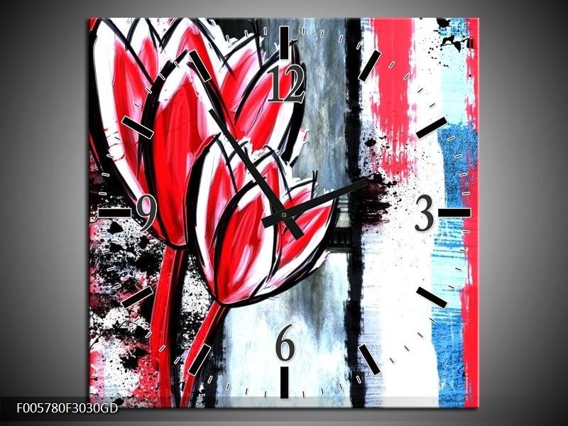 Wandklok op Glas Tulp   Kleur: Rood, Zwart, Wit   F005780CGD