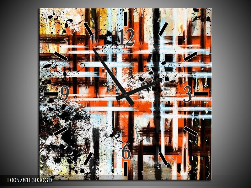 Wandklok op Glas Art | Kleur: Oranje, Zwart | F005781CGD