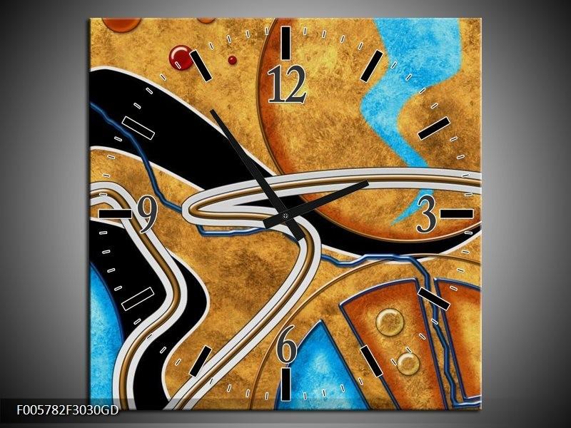 Wandklok op Glas Cirkel   Kleur: Bruin, Blauw   F005782CGD