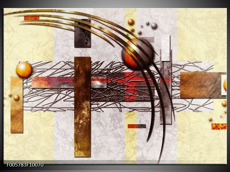 Glas schilderij Art | Bruin, Crème