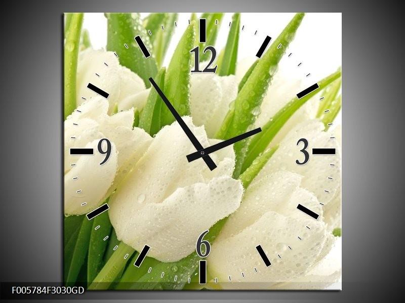 Wandklok op Glas Tulpen | Kleur: Wit, Groen | F005784CGD