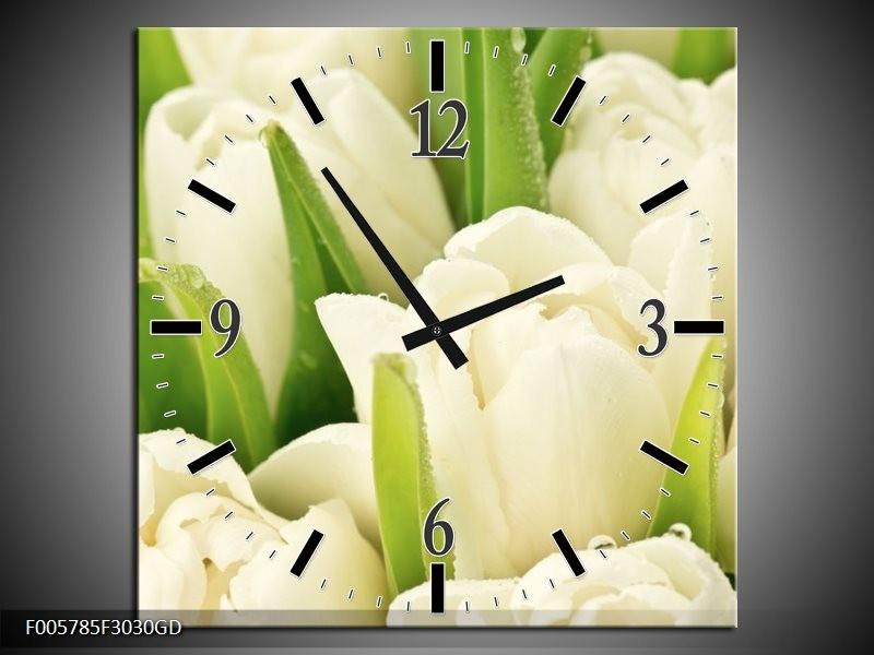 Wandklok op Glas Tulpen | Kleur: Wit, Groen | F005785CGD