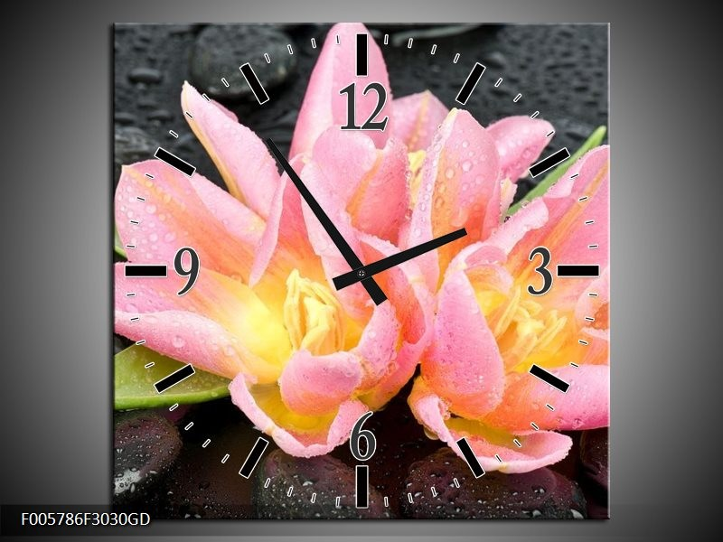 Wandklok op Glas Lelie | Kleur: Roze, Zwart | F005786CGD