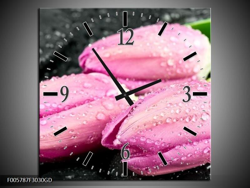 Wandklok op Glas Tulpen | Kleur: Roze, Zwart | F005787CGD